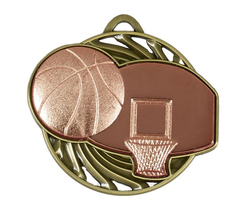 "Bronze Vortex Basketball Medal 50mm (2"")"