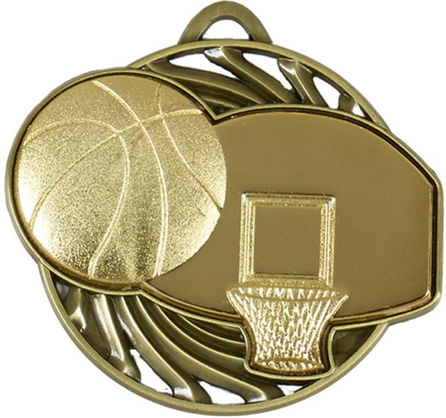 "Gold Vortex Basketball Medal 5cm (2"")"