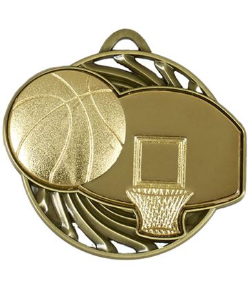 "Gold Vortex Basketball Medal 50mm (2"")"