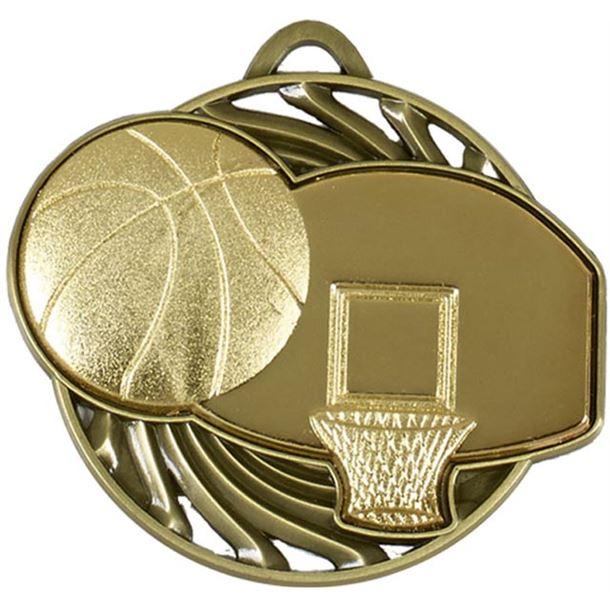 """Gold Vortex Basketball Medal 50mm (2"""")"""