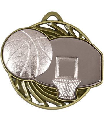 "Silver Vortex Basketball Medal 50mm (2"")"