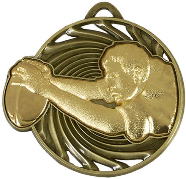 "Gold Vortex Rugby Player Medal 50mm (2"")"