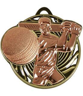 "Bronze Vortex Cricket Batsman Medal 50mm (2"")"