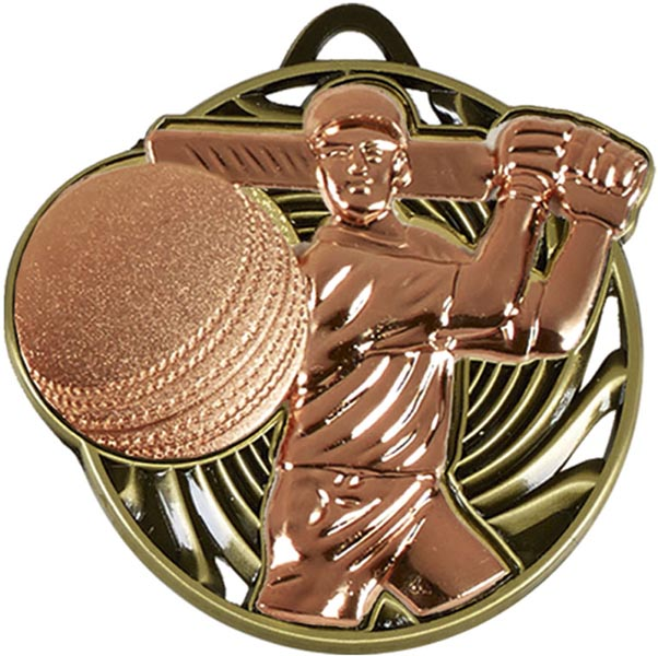 "Bronze Vortex Cricket Batsman Medal 50mm (2"")"