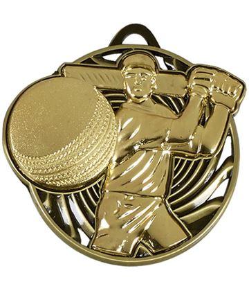 """Gold Vortex Cricket Batsman Medal 50mm (2"""")"""