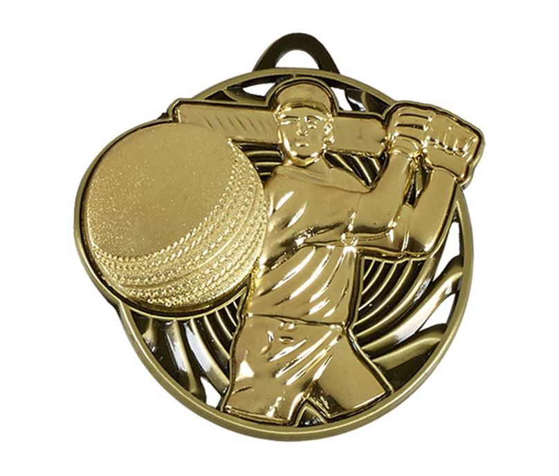 "Gold Vortex Cricket Batsman Medal 50mm (2"")"