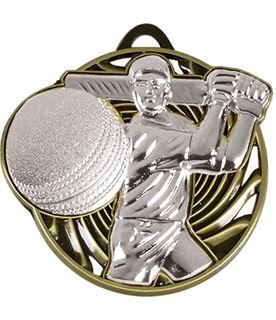 "Silver Vortex Cricket Batsman Medal 50mm (2"")"
