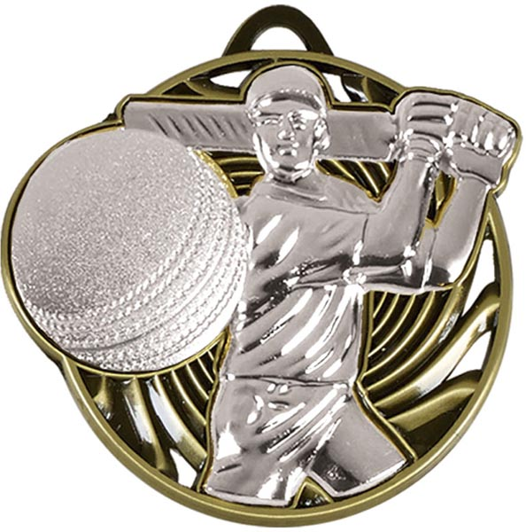 "Silver Vortex Cricket Batsman Medal 50mm (2"")"