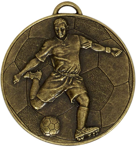 """Bronze Football Player on Football Patterned Medal 60mm (2.25"""")"""
