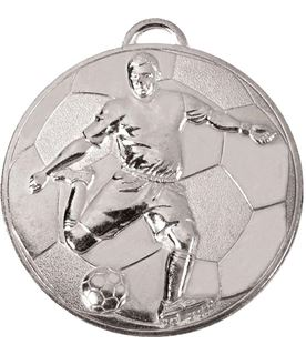 """Silver Football Player on Football Patterned Medal 60mm (2.25"""")"""