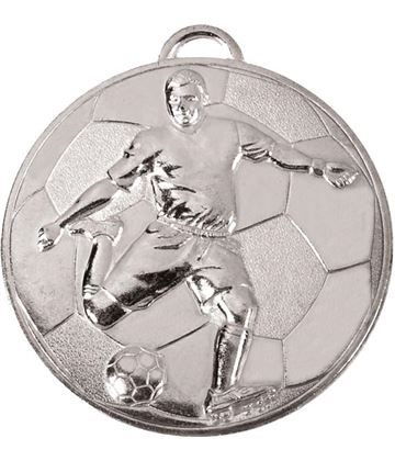 "Silver Football Player on Football Patterned Medal 60mm (2.25"")"