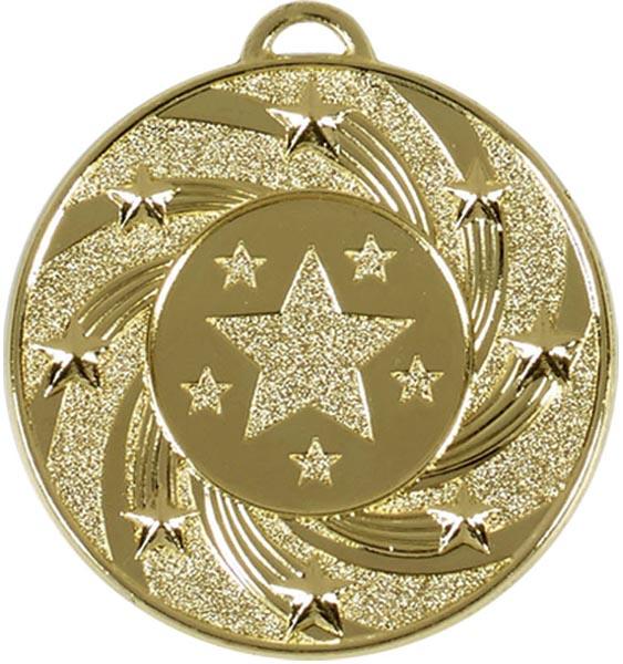 """Gold Spiral Star Medal 50mm (2"""")"""