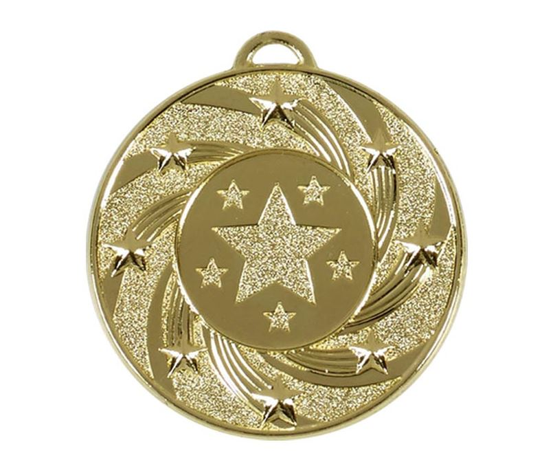 "Gold Spiral Star Medal 50mm (2"")"