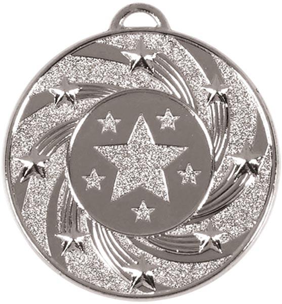 "Silver Spiral Star Medal 5cm (2"")"