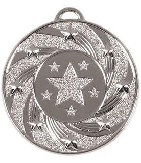 "Silver Spiral Star Medal 50mm (2"")"