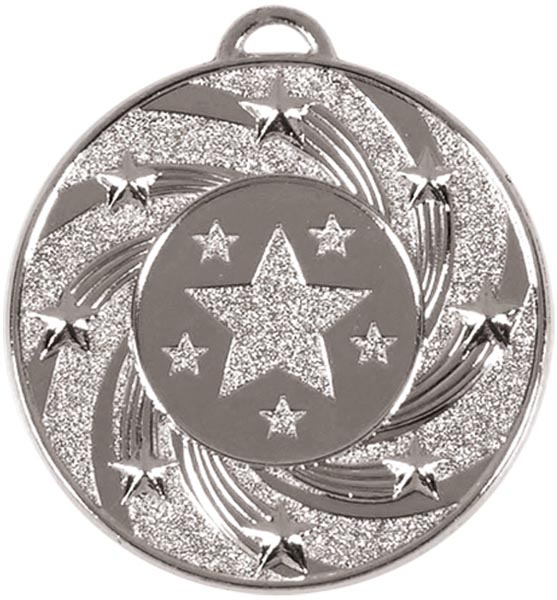 "Silver Spiral Star Medal 50mm (2"")"