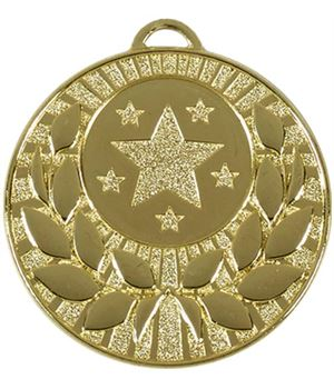 """Gold Laurel Wreath Star Medal 50mm (2"""")"""