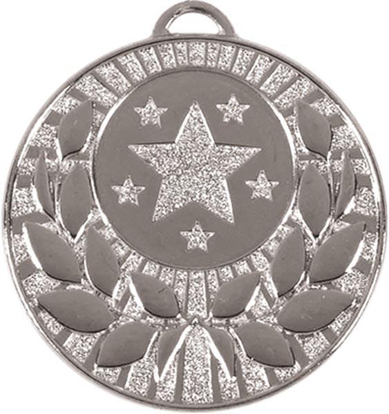 """Silver Laurel Wreath Star Medal 50mm (2"""")"""