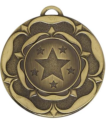"Bronze Star Tudor Rose Medal 50mm (2"")"