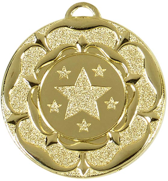 "Gold Star Tudor Rose Medal 50mm (2"")"