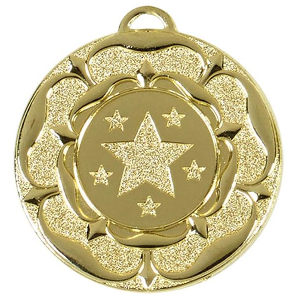 "Gold Star Tudor Rose Medal 50mm (2"")"