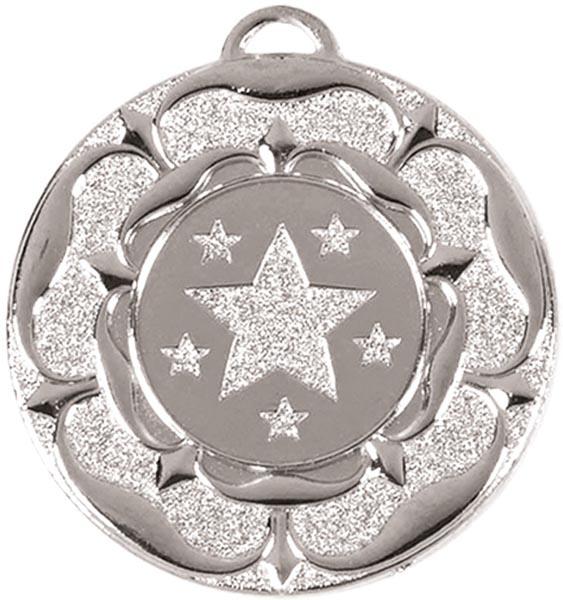 """Silver Star Tudor Rose Medal 50mm (2"""")"""