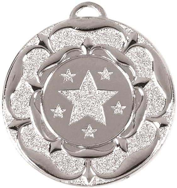 "Silver Star Tudor Rose Medal 50mm (2"")"