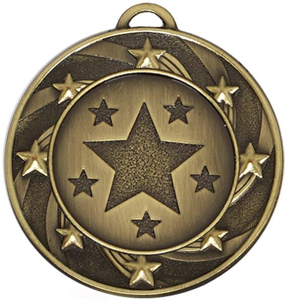 "Bronze Spiral Star Medal 4cm (1.5"")"
