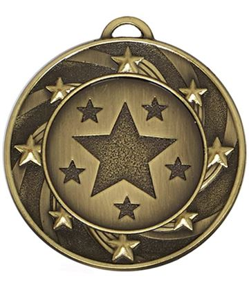 "Bronze Spiral Star Medal 40mm (1.5"")"
