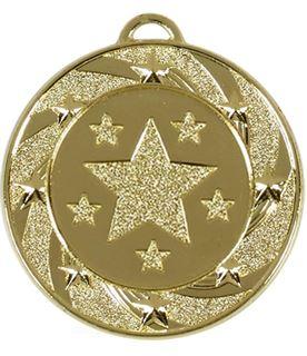 """Gold Spiral Star Medal 40mm (1.5"""")"""
