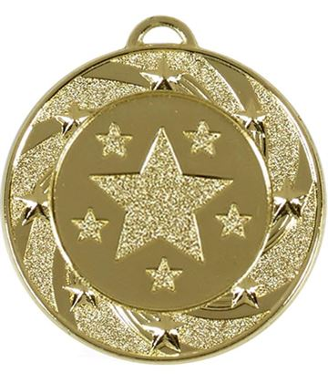 "Gold Spiral Star Medal 40mm (1.5"")"