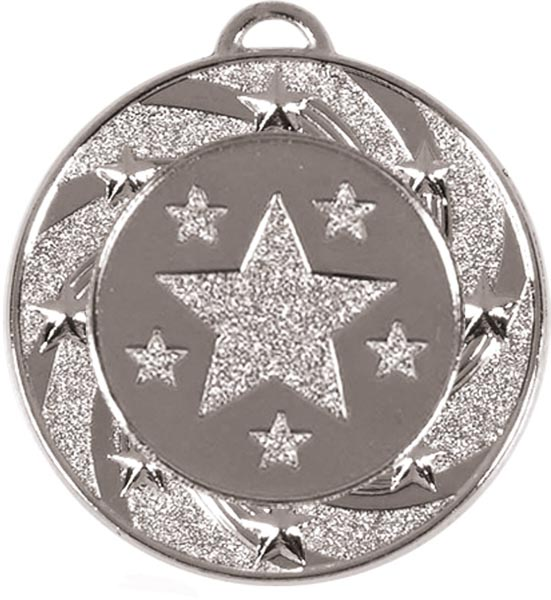 "Silver Spiral Star Medal 4cm (1.5"")"
