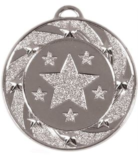 "Silver Spiral Star Medal 40mm (1.5"")"