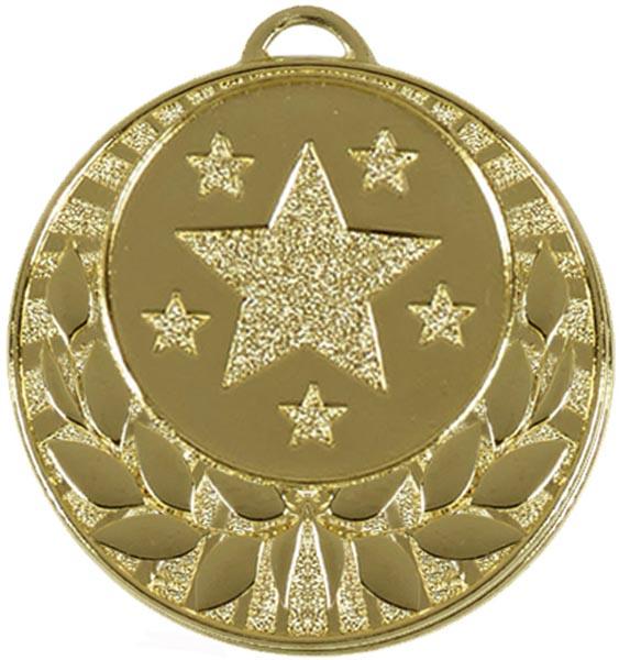 """Gold Laurel Wreath Star Medal 40mm (1.5"""")"""