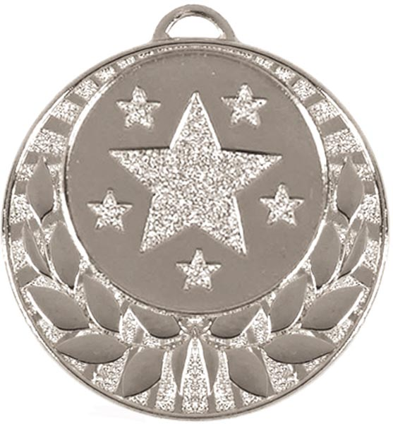 """Silver Laurel Wreath Star Medal 4cm (1.5"""")"""