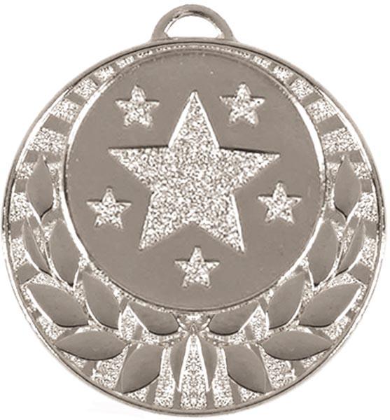 """Silver Laurel Wreath Star Medal 40mm (1.5"""")"""