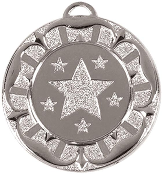 "Silver Star Tudor Rose Medal 4cm (1.5"")"