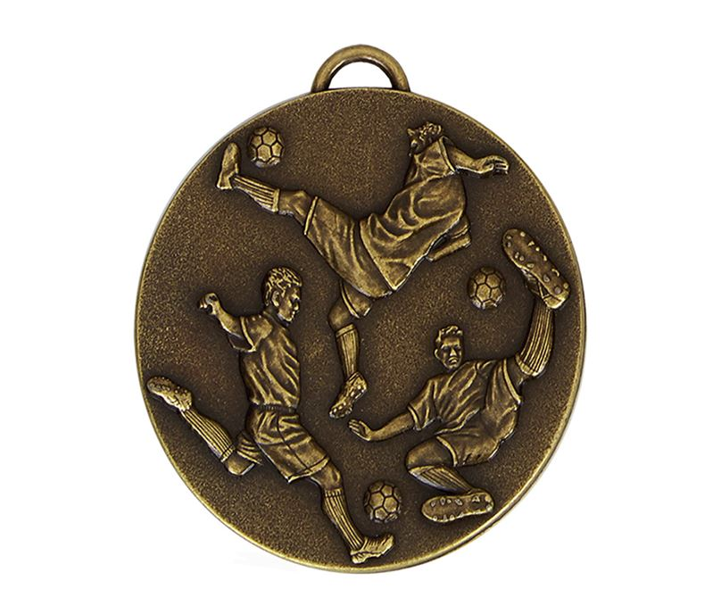 Gold Action Footballers Medal with Red, White & Blue Ribbon 60mm