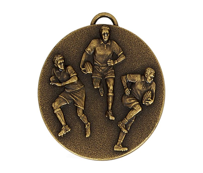 """Gold Action Rugby Medal with Red, White & Blue Ribbon 5cm (2"""")"""