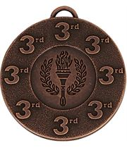 """3rd Place Bronze Medal with Red, White & Blue Ribbon 5cm (2"""")"""