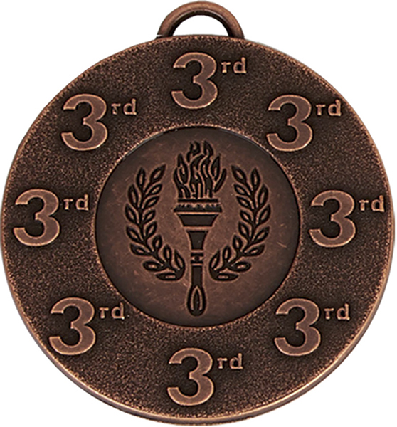 "3rd Place Bronze Medal with Red, White & Blue Ribbon 5cm (2"")"