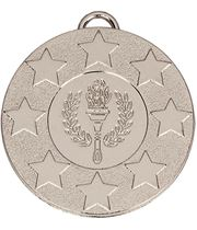 """Silver Stars & Victory Torch Medal with Red, White & Blue Ribbon 5cm (2"""")"""
