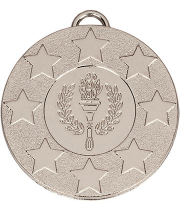 "Silver Stars & Victory Torch Medal with Red, White & Blue Ribbon 5cm (2"")"