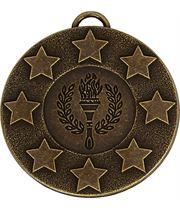 """Bronze Stars & Victory Torch Medal with Red, White & Blue Ribbon 5cm (2"""")"""