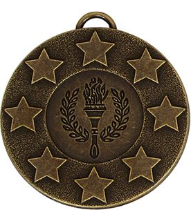 "Bronze Stars & Victory Torch Medal with Red, White & Blue Ribbon 5cm (2"")"