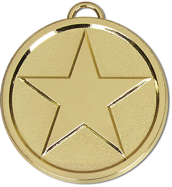 "Chunky High Polished Gold Star Medal 5cm (2"")"