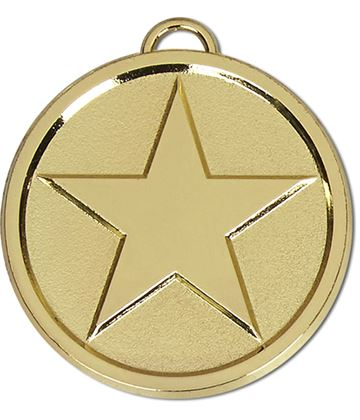"Chunky High Polished Gold Star Medal 50mm (2"")"