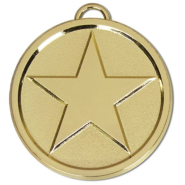"""Chunky High Polished Gold Star Medal 50mm (2"""")"""