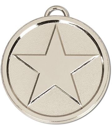 "Chunky High Polished Silver Star Medal 50mm (2"")"