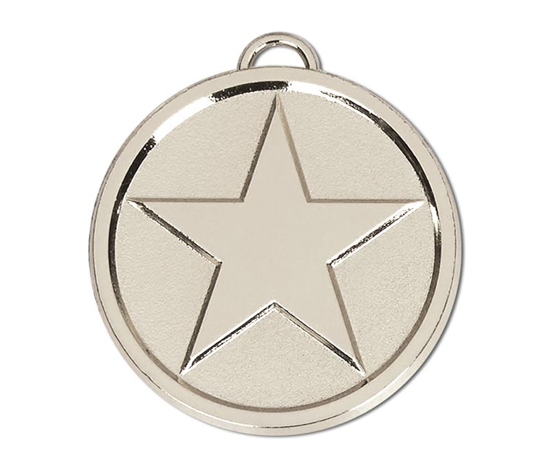 """Chunky High Polished Silver Star Medal 50mm (2"""")"""